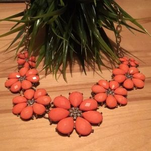 Orange floral chunky necklace
